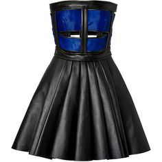 Inject tough-luxe attitude into your cocktail dress collection with this strapless leather sheath from David Koma. A cage-like bodice reveals a hint of skin an…