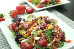 Roasted Butternut Squash and Strawberry Salad - roasted butternut squash and strawberries, feta, pecans, and balsamic vinaigrette