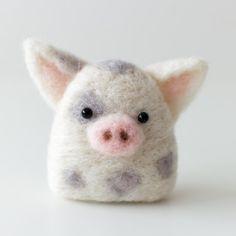Needle Felted Pig Konigiri Needle Felt Pig Cute by LeChibiMomo