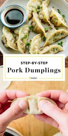 How To Make Pork Dumplings - Fleisch Pork Recipes, Asian Recipes, Cooking Recipes, Healthy Recipes, Napa Cabbage Recipes, Appetizer Recipes, Dinner Recipes, Wonton Recipes, Meat Appetizers