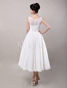 Vintage Retro Chiffon Tea Length Wedding Dress