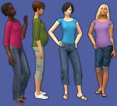 Mod The Sims - Simple Basics: 3/4 Shirts and Tees in 20 Solid Colors