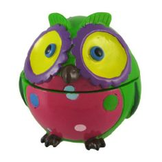 6 Inch Green/Hot Pink/Yellow Round Owl Trinket Box by Things2Die4. $19.99. Made of Cold Cast Resin. Hand-Painted. 6 in. Around the Middle, 2 3/4 in. Tall. This whimsical round owl trinket box adds a fun splash of color to any room! Made of cold cast resin, each one is lovingly hand-painted with vibrant colors to brighten your day. It measures 6 inches around the middle, and 2 3/4 inches tall. This cute trinket box makes a great gift for children, students, teacher...