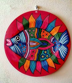 Mexican tray plate, Mexican Alebrije Fish Tray Plate, Mexican wall art plates, Mexican talavera pott Source by etsy Pottery Painting, Ceramic Painting, Stone Painting, Pottery Art, Painting On Wood, Ceramic Art, Mexican Paintings, Indian Art Paintings, Madhubani Art