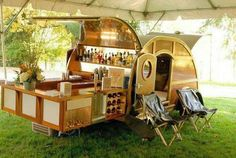 Glamping bedroom and bar