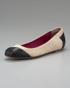 TOMS Shoes Meridian Leather/Burlap Ballerina Flat $135.00 - thestylecure.com