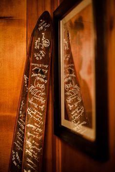 Skis as guestbook. Photography by jameschristianson.com/, Wedding Coordination by bluebirdaspen.com
