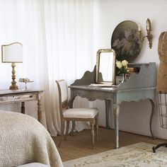 seagrass rug   grey desk   white window treatment