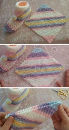 Simple step by step slippers tutorial - Knitting # slippers knit . Simple step by step slippers tutorial – knitting # pantoufl Knitting Stitches, Knitting Designs, Knitting Socks, Knitting Patterns Free, Free Knitting, Baby Knitting, Crochet Baby, Knit Crochet, Crochet Patterns