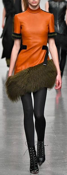 David Koma Mongolian Fur Hem Leather Dress Winter 2017, Fall Winter, Orange Twist, David Koma, Secondary Color, Knee Boots, Fur, Leather, Dresses