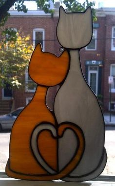Cozy Cats Stained Glass Sun Catcher G8 by terrazaglass on Etsy, $35.00