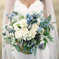 wedding bouquet - blues
