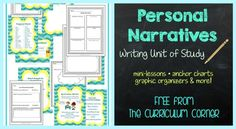 FREE! Personal Narratives Writing Unit of Study FREEBIE from The Curriculum Corner