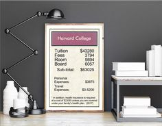 """Dorm Room Decor Ideas """"Harvard College Title Deed Tuition Card"""" poster 11x17 / 13x19 print 