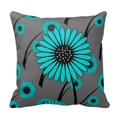 Teal Blue Gray Black Floral Flowers Throw Pillow