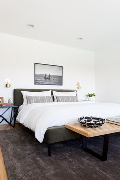 Clean lines and minimal design give this platform bed a modern vibe. We love the plush green finish - it's the ultimate luxe update for your contemporary bedroom. Scandi Bedroom, Home Decor Bedroom, Bedroom Ideas, Bedroom Designs, Contemporary Bedroom, Modern Bedroom, Modern Bedding, Luxury Bedding, Bedroom Romantic