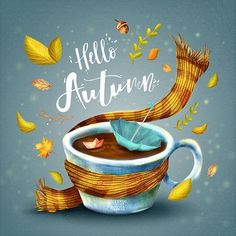 Hello Autumn on Behance - Herbstzeit , Autumn Illustration, Illustration Mode, Illustrations, Autumn Art, Autumn Leaves, Merry Christmas Message, Christmas Messages, Wonderful Day, Happy Fall Y'all