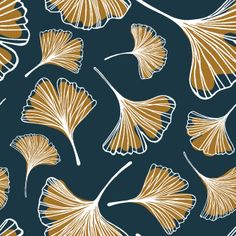 Shop Ginkgo Leaf fabric by sodi co at WeaveUp - custom fabric Doodle Patterns, Print Patterns, Leaf Drawing, Art Nouveau Design, Diy Canvas Art, Abstract Images, Leaf Art, Pattern Illustration, Love Painting
