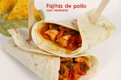 Chicken fajitas with vegetables - thermomix - Fajitas Recipes Fajita Recipe, Chicken Fajitas, Tex Mex, Tapas, A Food, Appetizers, Vegetarian, Snacks, Vegetables