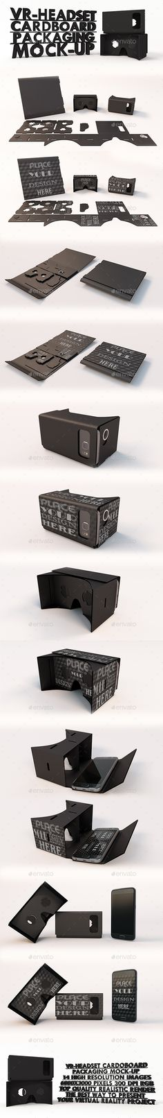 2f4b1f44374 VR Headset Google Cardboard Black Packaging Mock-ups - Product Mock-Ups  Graphics