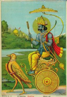 Sani Bhagavan. The Lord Saturn. Raja Ravi Varma, 19th c. Oleolithograph