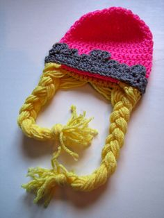 Princess Pink Tiara Crochet Hat with long blonde braids, Tangle Frozen inspired, size 3-9 months.
