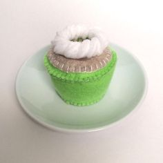 Felt Food: Scented Felt Cupcake, Key Lime Coconut Hand Stitched Cupcake -- children's pretend play, tea set, tea party, felt cupcake, gift on Etsy, $20.00