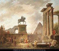 A capriccio with troubadours and washerwomen by a basin among Roman ruins, a pyramid beyond - Hubert Robert