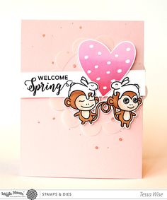 Waffle Flower Spring 2016 Preview – Day 3 | Welcome Spring with Monkeys Card
