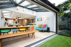 Hire interior designers and builders London for loft conversions and house extensions, such as side return kitchen extensions for Victorian terraced houses. Get an instant online quote and see how you can benefit from a side return extension. Kitchen Diner Extension, House Design, House, Home, Open Plan Kitchen Living Room, Interior Design Kitchen Small, House Extension Design, Interior Design, Open Plan Living