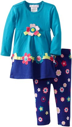 Bonnie Baby Baby Girls' Flower Applique Knit Legging Set *** Wow! I love this. Check it out now! : Baby clothes
