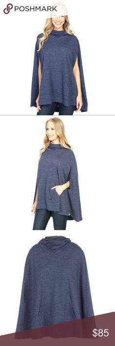 """New ICEBREAKER Merino Lina Cape Poncho NWOT. The interior tag was partially cut to prevent store returns. This new heather fathom blue merino wool Lina Cape from ICEBREAKER features a pullover style, hood in back, slits in front for the arms and a front pocket. Made of 87% merino, 10% nylon, 7% elastase. Total length: 28"""" Icebreaker Tops"""