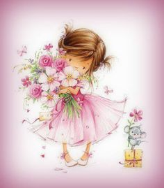 View album on Yandex. Cute Images, Pretty Pictures, Kids Graphics, Happy Birthday Flower, Drawing Clipart, Girl Clipart, Flower Clipart, Nursery Art, Cute Drawings