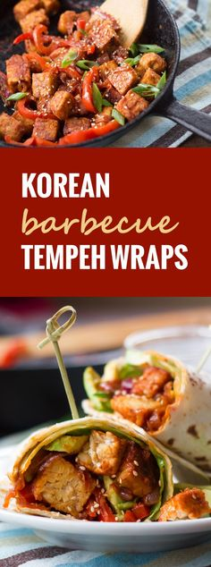 Spicy, saucy, pan-fried Korean barbecue tempeh is stuffed into warm tortillas with creamy avocado slices and crispy greens to make these flavorful wraps.