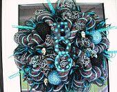 Lime & Black Halloween Deco Mesh Wreath by WreathsEtc on Etsy