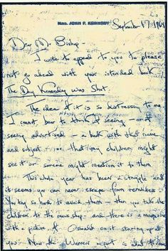 A letter from Jackie Kennedy