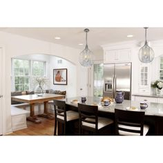 Love the light fixtures. Compact Satin Nickel and Crystal Pendant Chandelier - Overstock