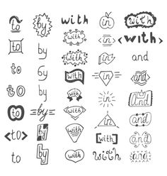 Hand drawn design elements catchwords with and in vector  by saenal78 on VectorStock®