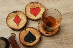 Poker Coasters, Wood Burned Hand Painted Coasters, Playing Card Coasters, Poker Player Gift, Man Cave Coaster, Game Room Decor, Bar Decor by VENDecorHandmade on Etsy https://www.etsy.com/listing/261503594/poker-coasters-wood-burned-hand-painted