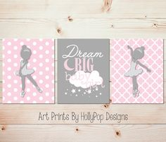 Baby Girl Nursery Wall Art Pink Gray Ballerina Décor Set of 3 Art Prints by HollypopDesigns, $33