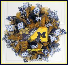 Wolverines Wreath  University of Michigan Deco by PsychoCreators