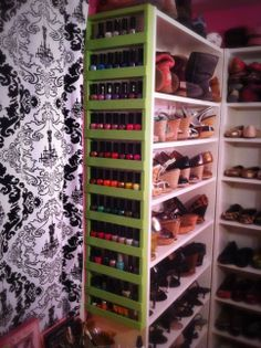 DIY nail polish rack on shoe shelves