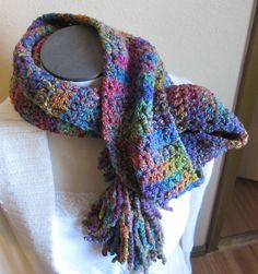 Crochet Scarf Multi Color Cryon Curly Q Yarn by Kitkateden on Etsy, $18.00