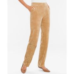 Chico's Zenergy Velour Embellished Floral Pants ($89) ❤ liked on Polyvore featuring pants, arabian camel, elastic waist pants, embellished pants, pull on pants, white pull on pants and camel pants