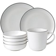 Designed specially by Gordon Ramsay and Royal Doulton, this stoneware 16 piece dinnerware set from their 'Bread Street' range has a classic design with a contrast brim.