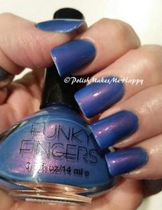 """Funky Fingers """"Let the Beat Drop"""" ... Honestly one of my very favorites ever! This is a smooth periwinkle blue/purple.. blurple with a surprise pink shimmer!! This polish went on so nicely and was opaque in just two coats. #notd #funkyfingers #blurple"""