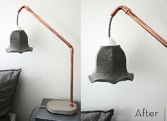 Make a sweet lamp out of copper pipes and concrete!  (And a light kit and an old sweater)  No it is not only written in Swedish (I believe), if you scroll down each step is also written in English, thanks Helena!