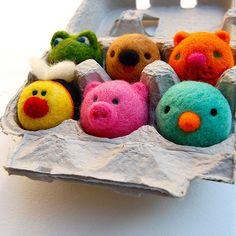 wet wool felted - needle felt animals