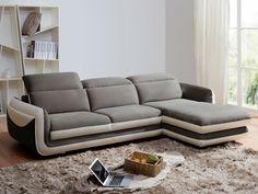 Canapé d'angle IAGO pas cher microfibre/cuir angle droit gris/blanc prix promo Canapé Vente Unique 1 099.99 € TTC prix constaté* : 2 405 €