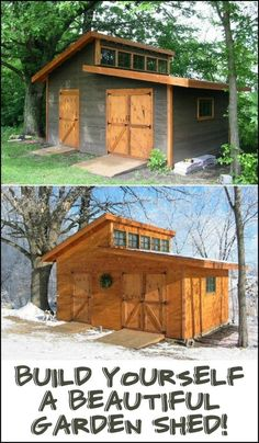 We found the ultimate garden shed! Lots of storage space, great natural light, big doors. Is this the perfect shed for your backyard? (Garden Shed Plans) Wood Shed Plans, Shed Building Plans, Diy Shed Plans, Storage Shed Plans, 12x20 Shed Plans, Building Homes, Cabin Plans, Building Ideas, Backyard Buildings